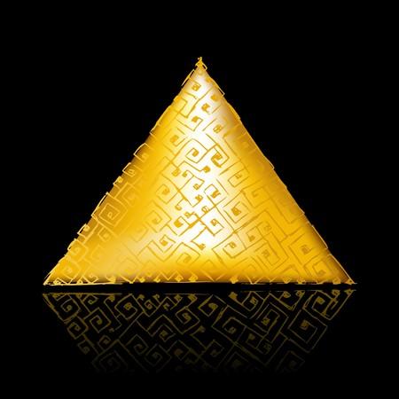 Pirámide de oro sobre negro Ilustración de vector