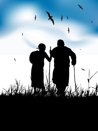 old hand: Two old people walk on nature together Illustration