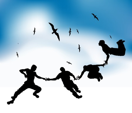 Happy friends fly in sky, black silhouettes Vector
