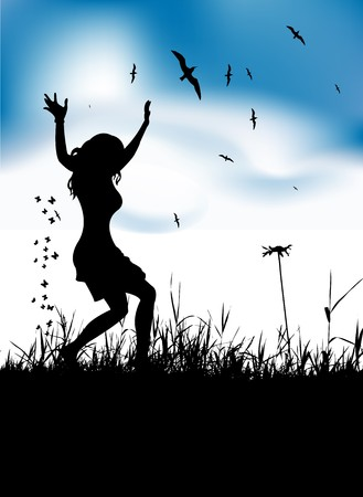 Young woman dancing on summer meadow Vector