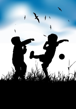 Little boys playing with ball on summer field Stock Vector - 6931361