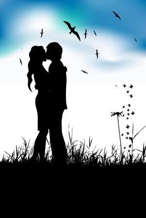 Couple kissing on summer meadow, black silhouette Stock Vector - 6931368
