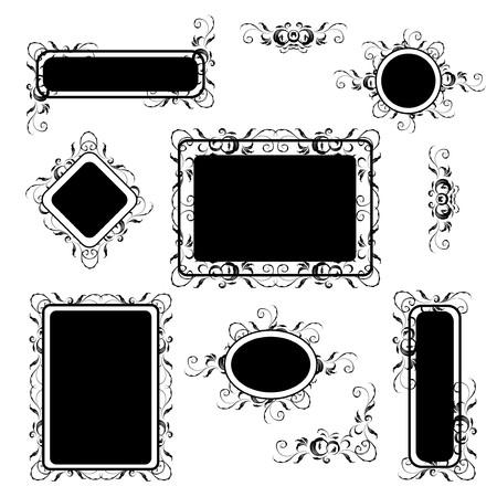 Vintage frame silhouette set, floral ornament Stock Vector - 6927758