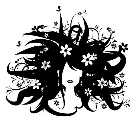 Floral hairstyle, woman silhouette for your design Vector