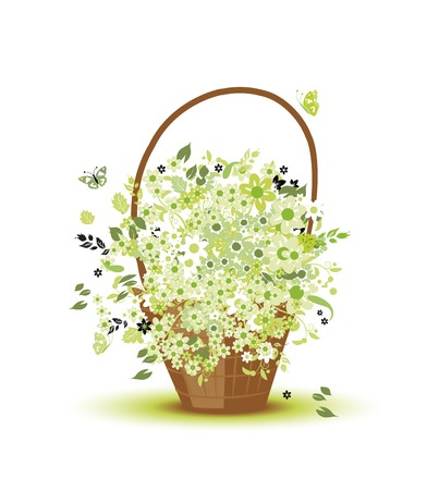 Basket with flowers for your design Stock Vector - 7107839