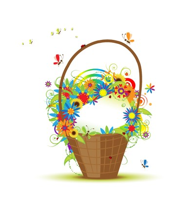 Basket with flowers for your design Stock Vector - 7107801
