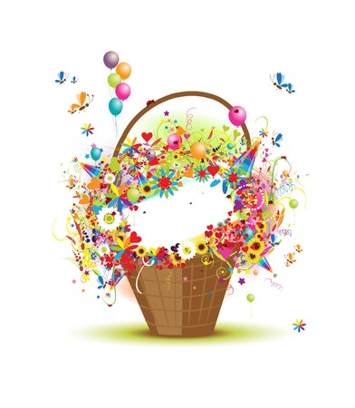 Basket with flowers for your design Vector