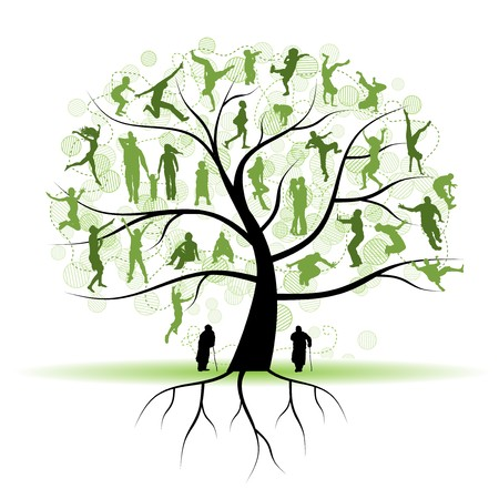 kin: Family tree, relatives, people silhouettes