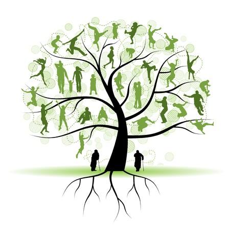 arbol genealógico: Árbol de familia, parientes, siluetas de personas