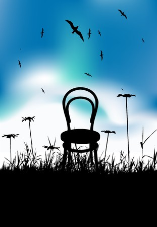 Chair on meadow summer, black silhouette Vector