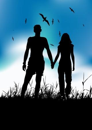 Couple walking on summer meadow, black silhouette Vector