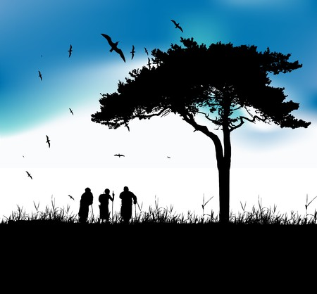 Three old people walk on nature together Vector