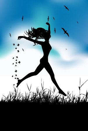 Young woman running on summer meadow Vector
