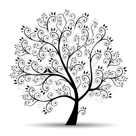 boom met vogels: Art boom mooie, zwarte silhouet