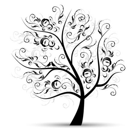 silhouette fleur: Arborescence art magnifique, une silhouette noire