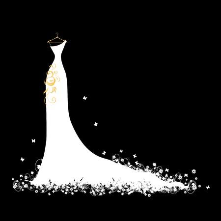 mannequin: Blanc de robe de mariage sur cintres