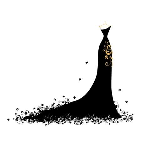EVENING DRESS: Vestido de noche negro en perchas Vectores