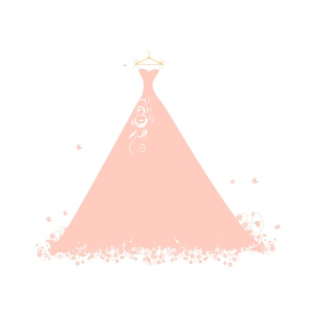 Beautiful dress pink on hangers Vector