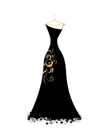Evening dress black on hangers Stock Vector - 7107774