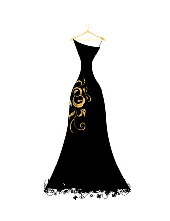 evening dress: Evening dress black on hangers