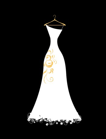 Wedding dress white on hangers Stock Vector - 7107773