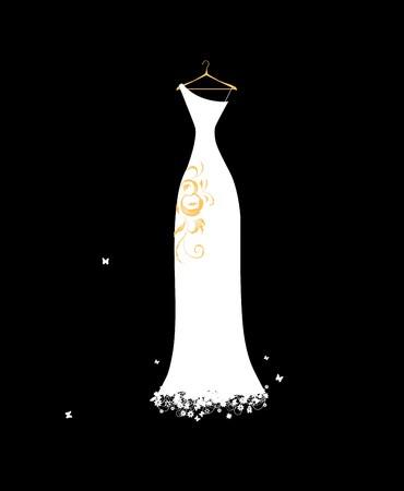 Wedding dress white on hangers Stock Vector - 7107781
