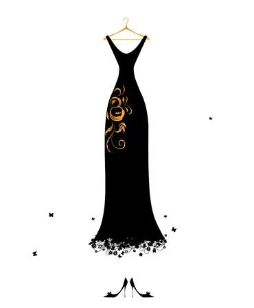 traje de gala: Vestido de noche negro en perchas Vectores
