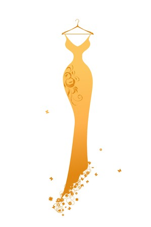 evening dress: Evening dress golden on hangers Illustration