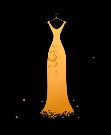 robe de soir�e: Robe du soir dor�e sur cintres  Illustration