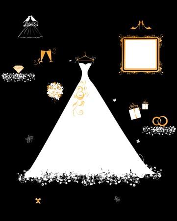 Hochzeit-Shop, weißes Kleid und Zubehör