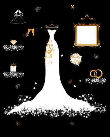 Wedding shop, white dress and accessory Stock Vector - 7107855