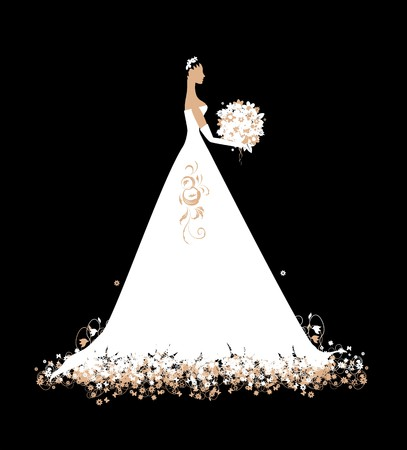 Bride in wedding dress white with bouquet Stock Vector - 7107848