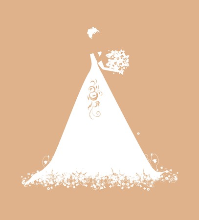 gowns: Bride in wedding dress white with bouquet Illustration