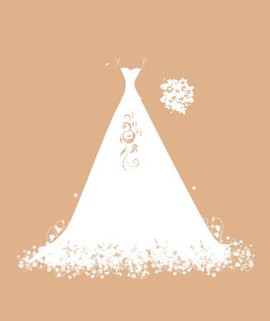 Wedding dress white on hangers Stock Vector - 7107849