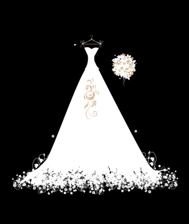 Wedding dress white on hangers Vector