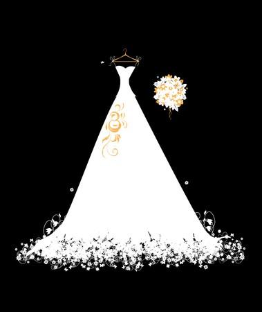 ウェディングドレス: ハンガーにウェディング ドレス ホワイト