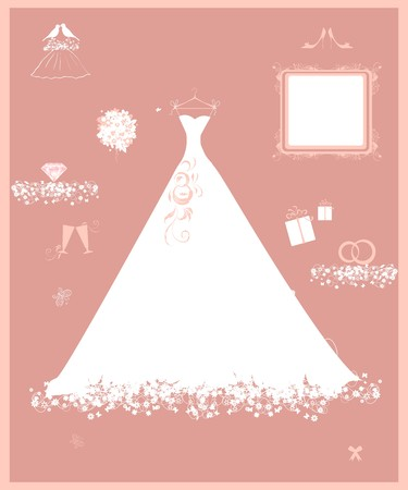 Wedding shop, white dress and accessory Vector