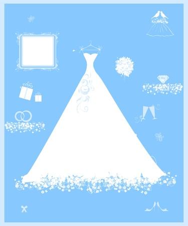 zapatos azules: Tienda de boda, vestido blanco y accesorio