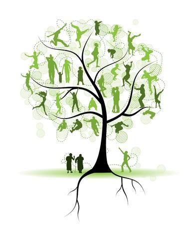 feuille arbre: Arbre de la famille, des amis, des silhouettes de personnes