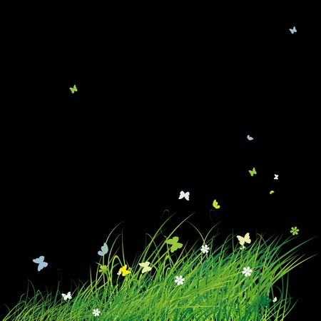 Green field with butterflies, summer background Stock Vector - 7199653
