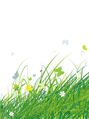 Green field with butterflies, summer background Stock Vector - 7199654