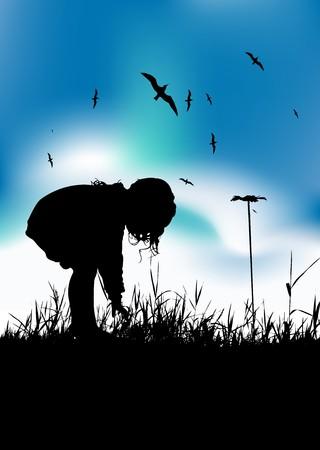 florecitas: Flores de ispicking de chica poco en campo, silueta negra