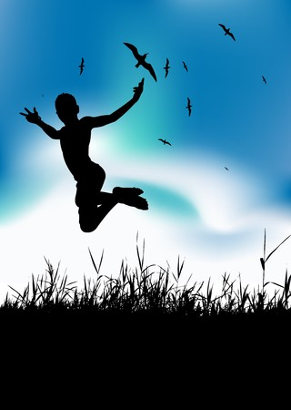 Summer holiday, man is jumping on meadow, black silhouette Vector