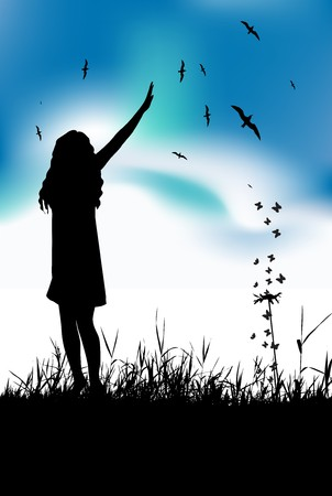 Young woman waving hand on summer meadow Vector