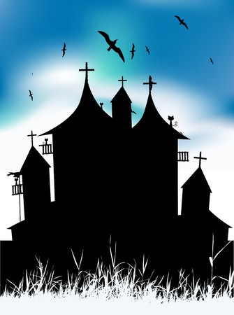 Castle gothic medieval on hill,  black silhouette Vector