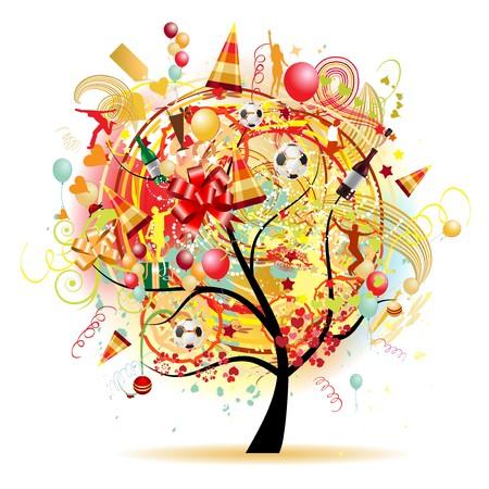Happy celebration, funny tree with holiday symbols Stock Vector - 7199692