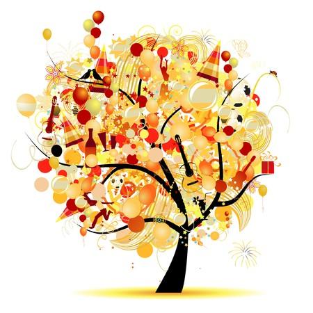 falling star: Happy celebration, funny tree with holiday symbols