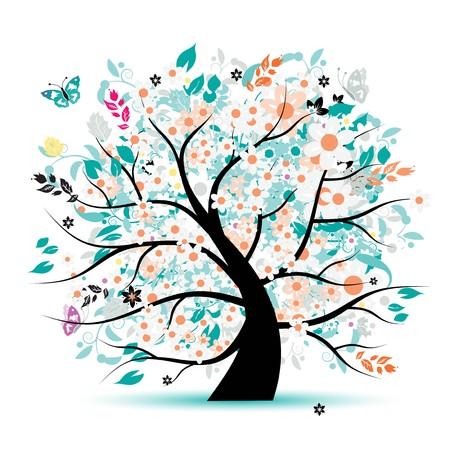 silhouette papillon: Belle floral arborescence