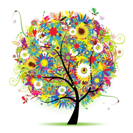 Floral tree beautiful, summer Vector