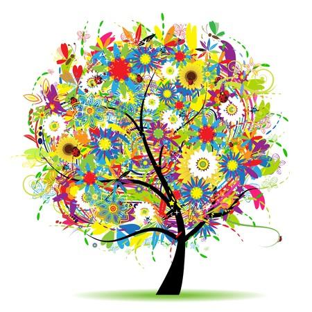 rose tree: Floral tree beautiful, summer Illustration